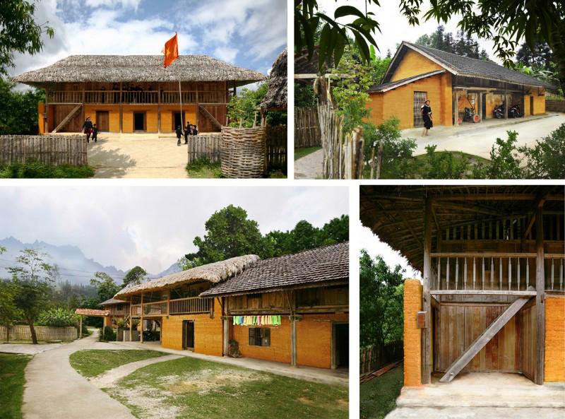 Tổng thể làng mang kiến trúc đặc trưng với những tường trình đất dày.