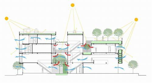 Mặt cắt công trình với chi tiết các hướng thông gió và lấy sáng tự nhiên.