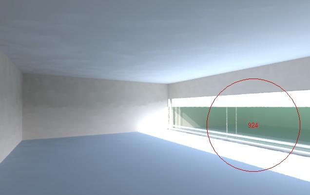 Tính mô phỏng: Một không gian văn phòng bị chói khi chưa có xử lý chiếu sáng.