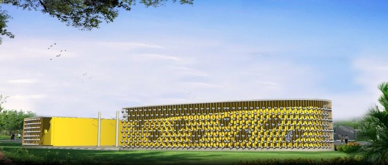 Dự án Bảo tàng giáo dục biến đổi khí hậu cho trẻ em ở Hà Nội có lớp vỏ bao gồm rất nhiều những tua bin gió nhỏ, tạo ra điện năng sử dụng cho công trình.