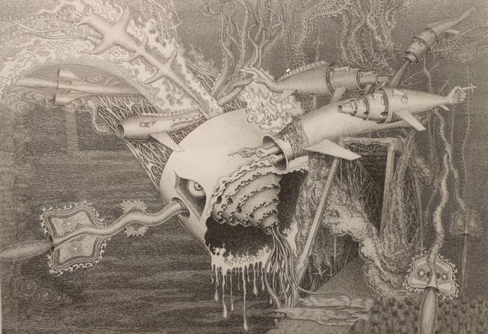Tác phẩm: Tiếng vọng của thiên nhiên –  Artist, Giảng viên Nguyen Duc Hung  Kích Thước: 84cm x 120cm; Chất liệu: Bút Kim trên giấy
