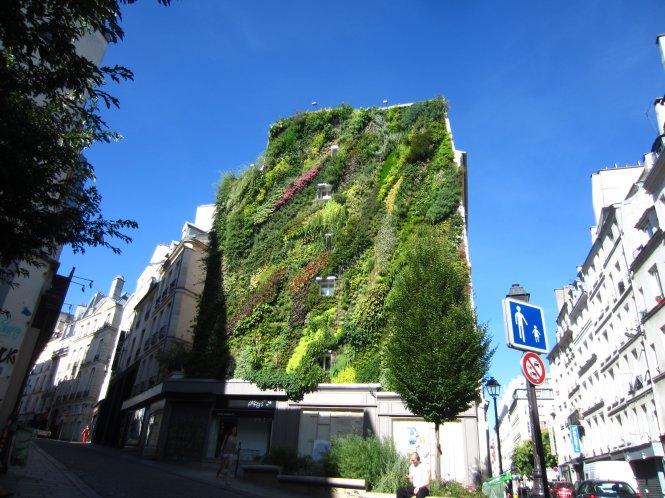 Bức tường xanh Oasis cao 25m tạo thành từ 7.600 cây cảnh và 237 giống hoa được xem là một ốc đảo mini giữa lòng Paris.