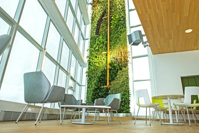 """Bức tường """"Dòng chảy"""" tại tòa nhà Công ty Mouvement Desjardins ở Levis, Vancouver được tạo tác từ cảm hứng dòng sông Saint-Laurent."""