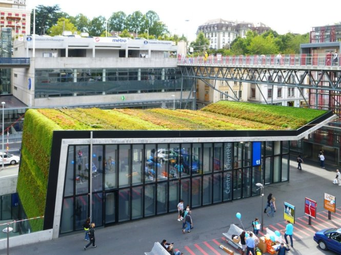 Mái và tường tòa nhà trung tâm khách hàng trạm điện ngầm M2 được bao phủ bằng nhiều loài cây xanh.