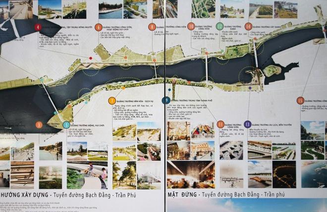 Một trong số 7 ý tưởng đang trưng bày đề cập nhiều đến quy hoạch các quảng trường ở hai tuyến đường ven sông Hàn, với quảng trường văn hóa - dịch vụ, quảng trường công viên, quảng trường du lịch, bến thuyến,...