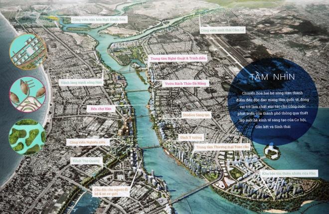Một ý tưởng khác chọn điểm nhấn bằng việc tạo thêm các điểm đến ven sông Hàn, như hành lang xanh, vườn bách thảo, trung tâm nghệ thuật và trình diễn, cầu đôi cho người đi bộ và xe cơ giới.