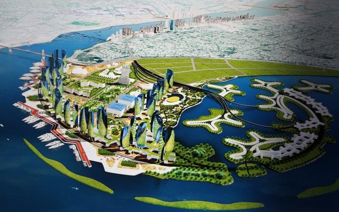 """Một """"ý tưởng xanh"""" cho khu vực cửa sông Hàn, với quy hoạch dành nhiều diện tích trồng cây xanh, xen lẫn những tòa cao ốc ở khu vực ven biển (phía quận Hải Châu)."""