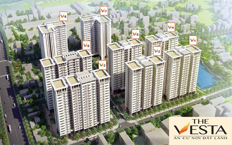 Phối cảnh tổng thể dự án The Vesta Chung cư The Vesta - Nhà ở xã hội The Vesta Phú Lãm, Hà Đông