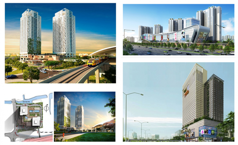 Chung cư cao tầng là loại hình phát triển duy nhất liên quan đến TOD ở Việt Nam (Nguồn:thaodienpearl, masteri thaodien, pearlplaza)