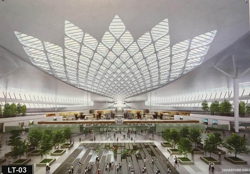 Hình khối khu vực nhà ga chính (mái) là những cánh hoa sen lớn, mang lại cho du khách quốc tế một cảm nhận ban đầu, ấn tượng, lưu giữ về hình ảnh của quốc hoa Việt Nam.